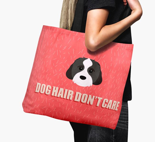 'Dog Hair Don't Care' Canvas Bag with Cavachon Icon