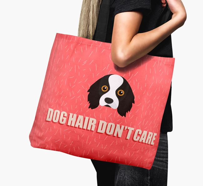 'Dog Hair Don't Care' Canvas Bag with Cavalier King Charles Spaniel Icon