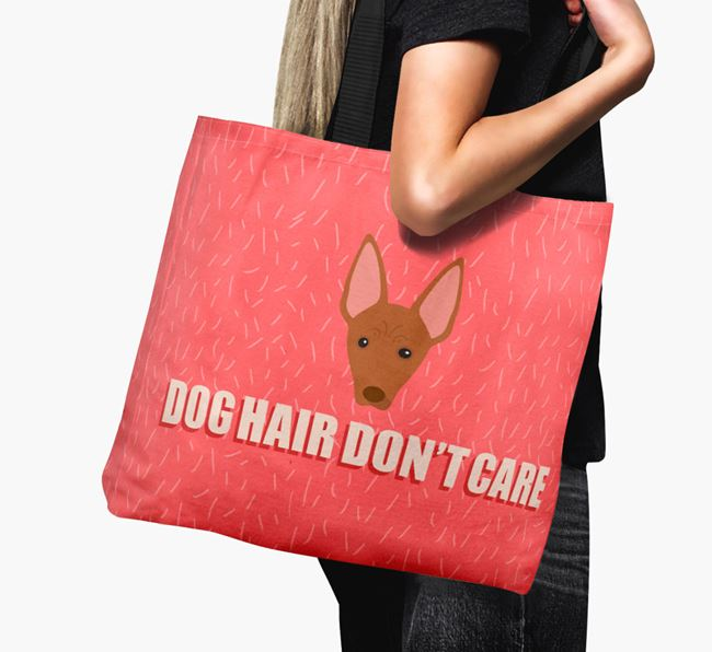 'Dog Hair Don't Care' Canvas Bag with Cirneco Dell'Etna Icon