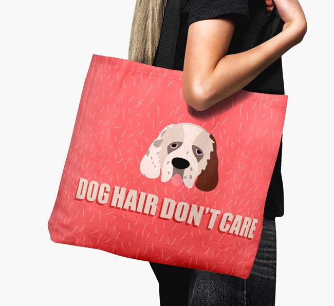 'Dog Hair Don't Care' Canvas Bag with Clumber Spaniel Icon