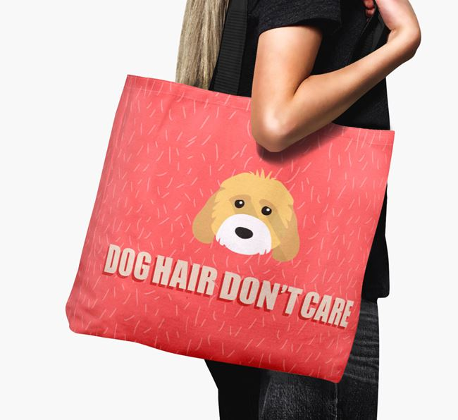 'Dog Hair Don't Care' Canvas Bag with Cockapoo Icon