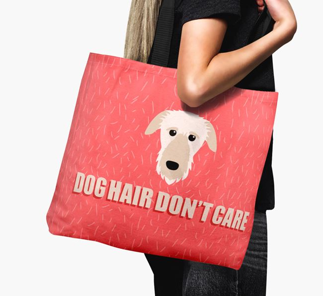 'Dog Hair Don't Care' Canvas Bag with Deerhound Icon