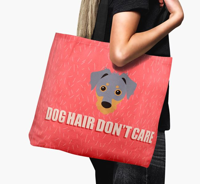 'Dog Hair Don't Care' Canvas Bag with Dorkie Icon