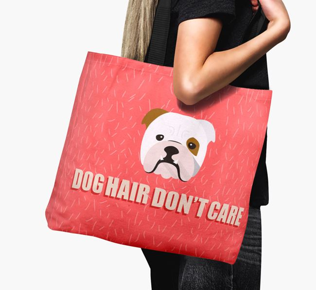 'Dog Hair Don't Care' Canvas Bag with English Bulldog Icon