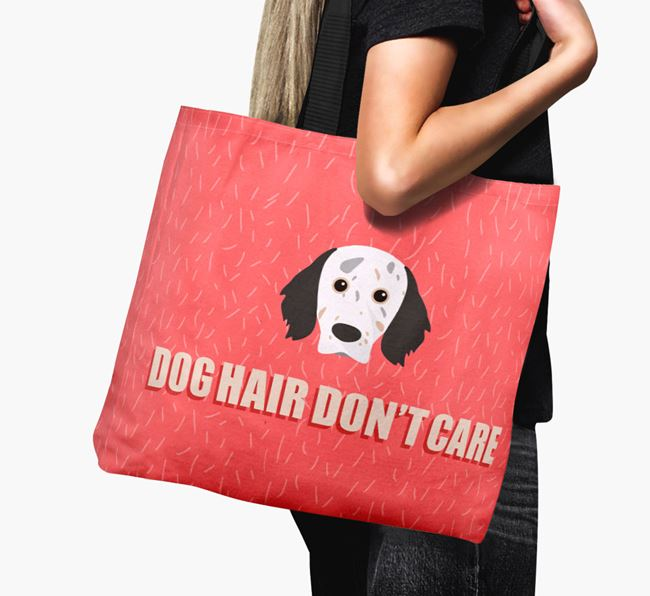 'Dog Hair Don't Care' Canvas Bag with English Setter Icon
