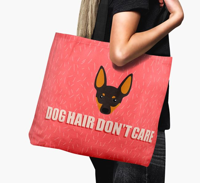 'Dog Hair Don't Care' Canvas Bag with English Toy Terrier Icon