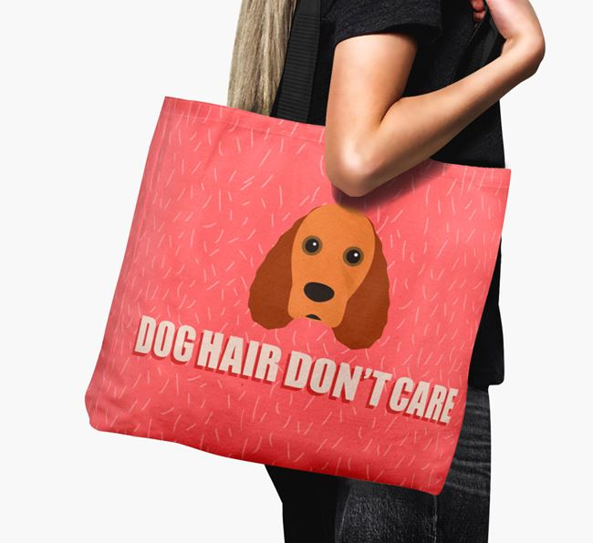 'Dog Hair Don't Care' Canvas Bag with Field Spaniel Icon