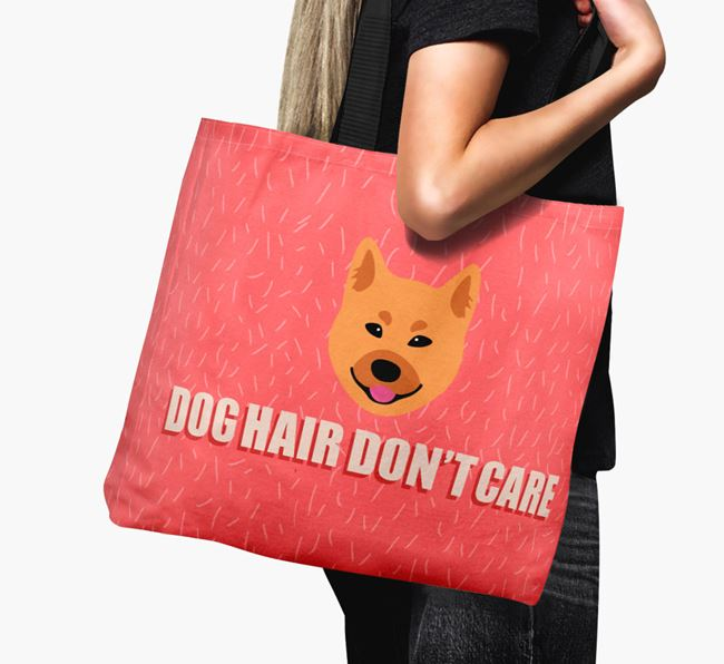 'Dog Hair Don't Care' Canvas Bag with Finnish Spitz Icon
