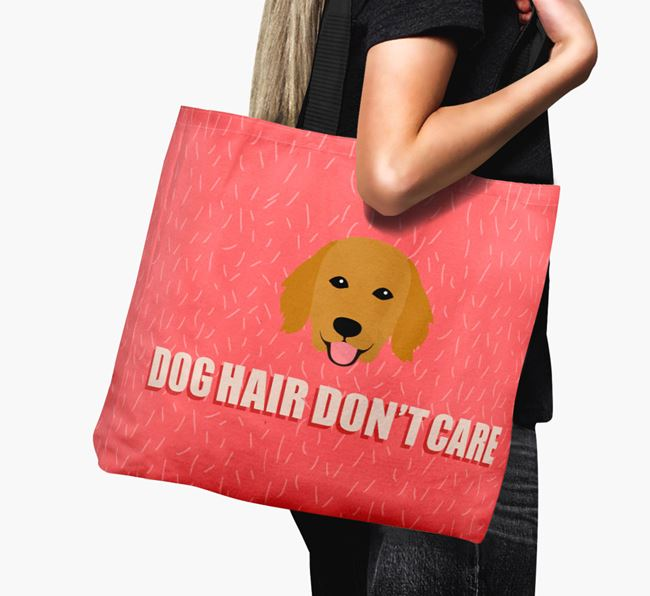 'Dog Hair Don't Care' Canvas Bag with Flat-Coated Retriever Icon