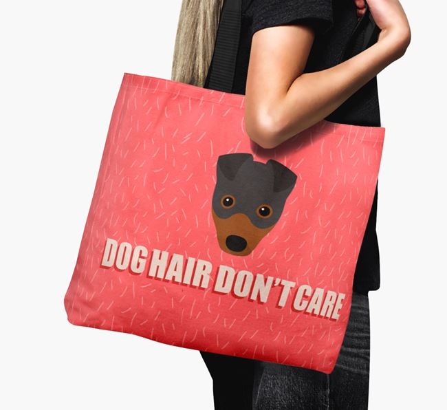 'Dog Hair Don't Care' Canvas Bag with Fox Terrier Icon