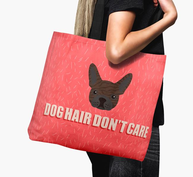 'Dog Hair Don't Care' Canvas Bag with French Bulldog Icon