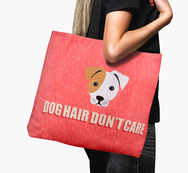 'Dog Hair Don't Care' Canvas Bag with French Bull Jack Icon