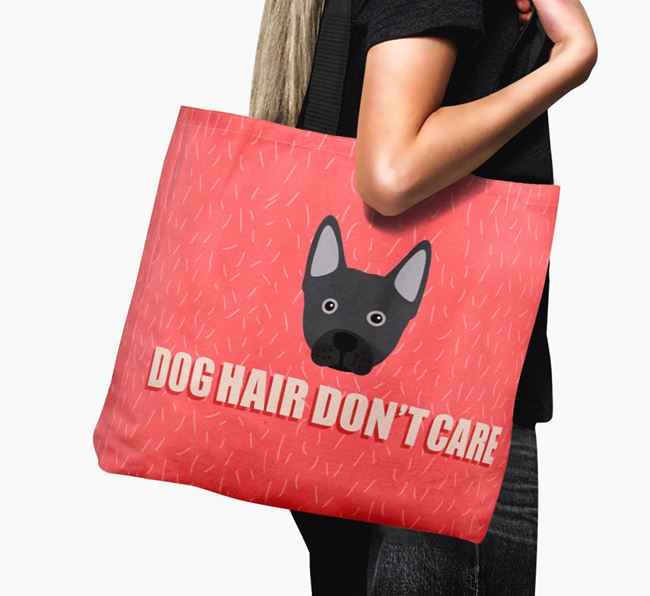 'Dog Hair Don't Care' Canvas Bag with Frenchie Staff Icon