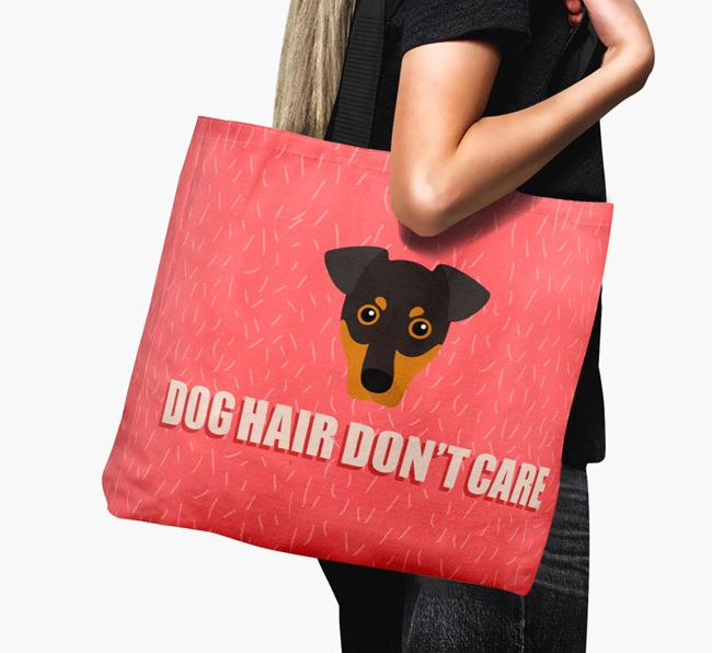 'Dog Hair Don't Care' Canvas Bag with German Pinscher Icon