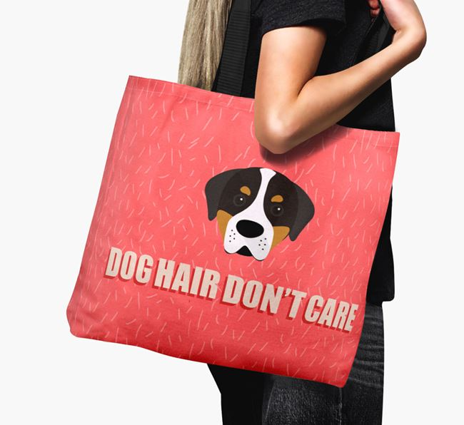 'Dog Hair Don't Care' Canvas Bag with Greater Swiss Mountain Dog Icon