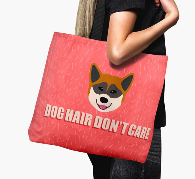 'Dog Hair Don't Care' Canvas Bag with Greenland Dog Icon