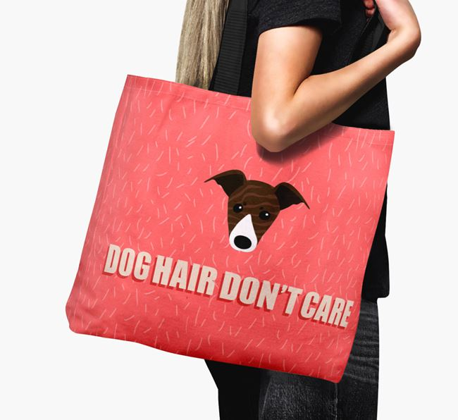 'Dog Hair Don't Care' Canvas Bag with Greyhound Icon