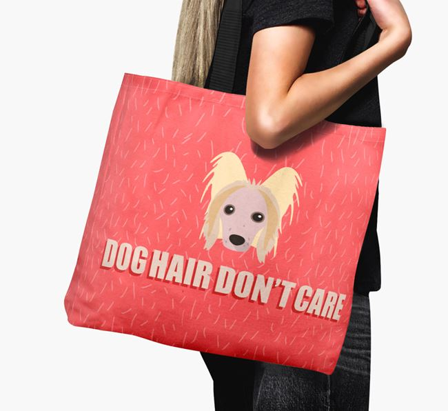 'Dog Hair Don't Care' Canvas Bag with Hairless Chinese Crested Icon