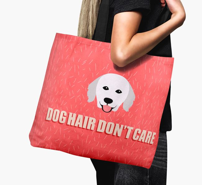 'Dog Hair Don't Care' Canvas Bag with Hungarian Kuvasz Icon