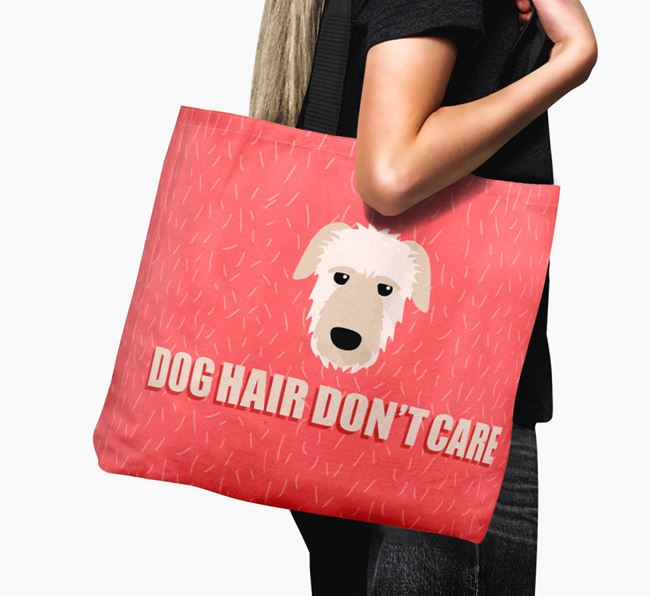 'Dog Hair Don't Care' Canvas Bag with Irish Wolfhound Icon