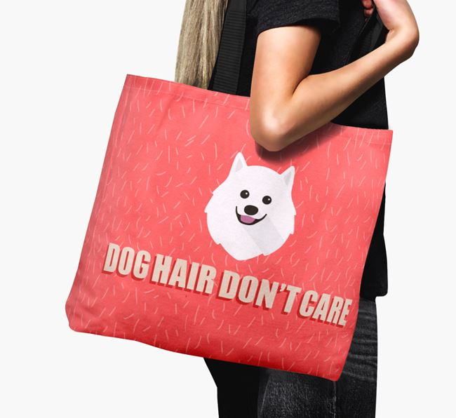 'Dog Hair Don't Care' Canvas Bag with Japanese Spitz Icon