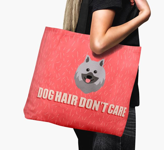 'Dog Hair Don't Care' Canvas Bag with Keeshond Icon