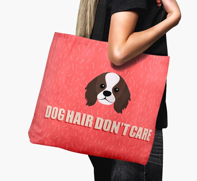 'Dog Hair Don't Care' Canvas Bag with King Charles Spaniel Icon