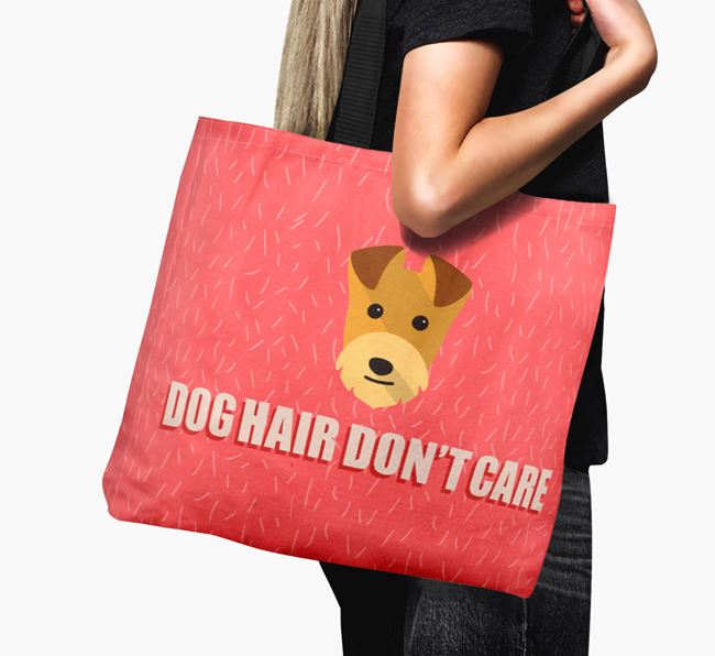 'Dog Hair Don't Care' Canvas Bag with Lakeland Terrier Icon