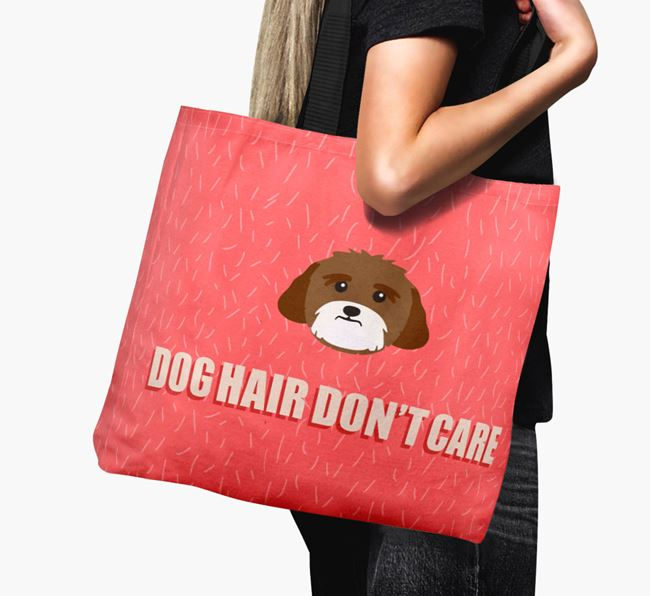 'Dog Hair Don't Care' Canvas Bag with Lhasa Apso Icon