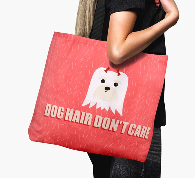 'Dog Hair Don't Care' Canvas Bag with Maltese Icon