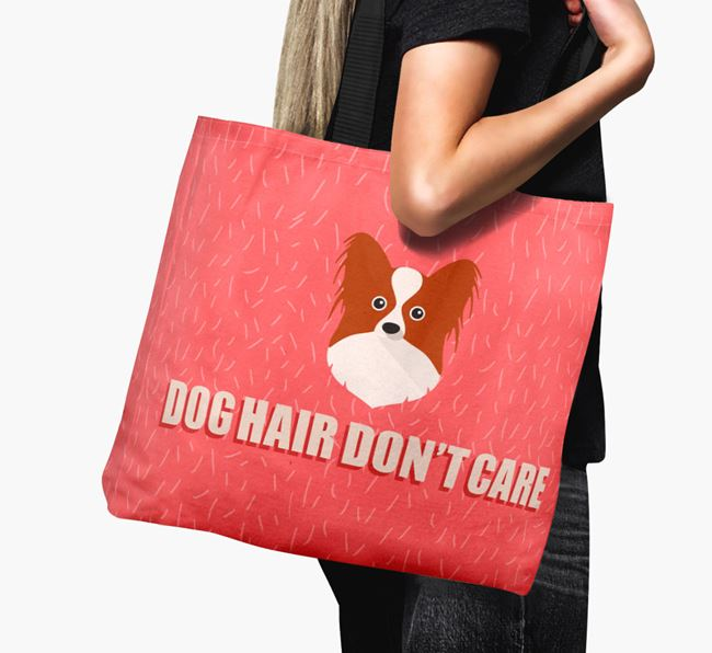 'Dog Hair Don't Care' Canvas Bag with Papillon Icon