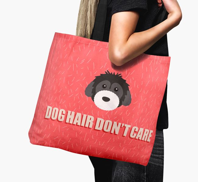 'Dog Hair Don't Care' Canvas Bag with Powderpuff Chinese Crested Icon