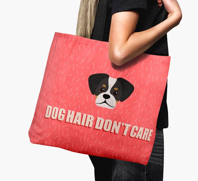 'Dog Hair Don't Care' Canvas Bag with Pugalier Icon