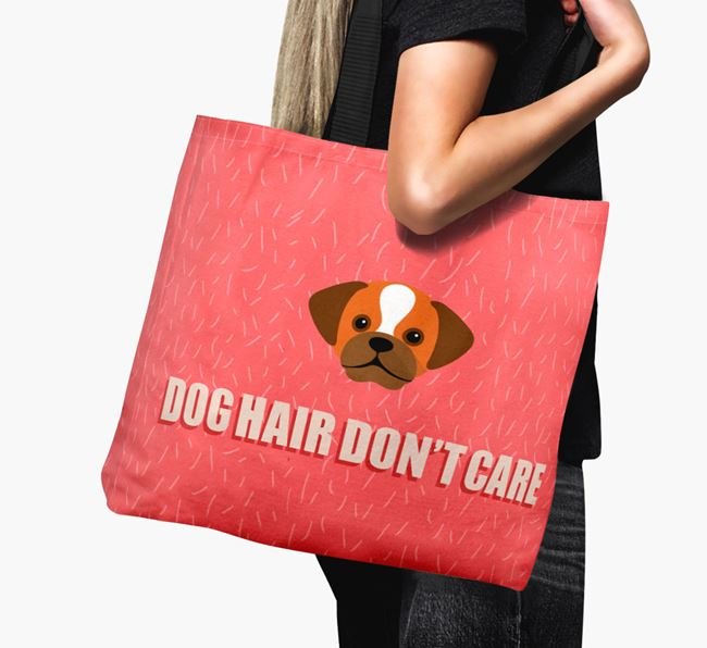 'Dog Hair Don't Care' Canvas Bag with Puggle Icon