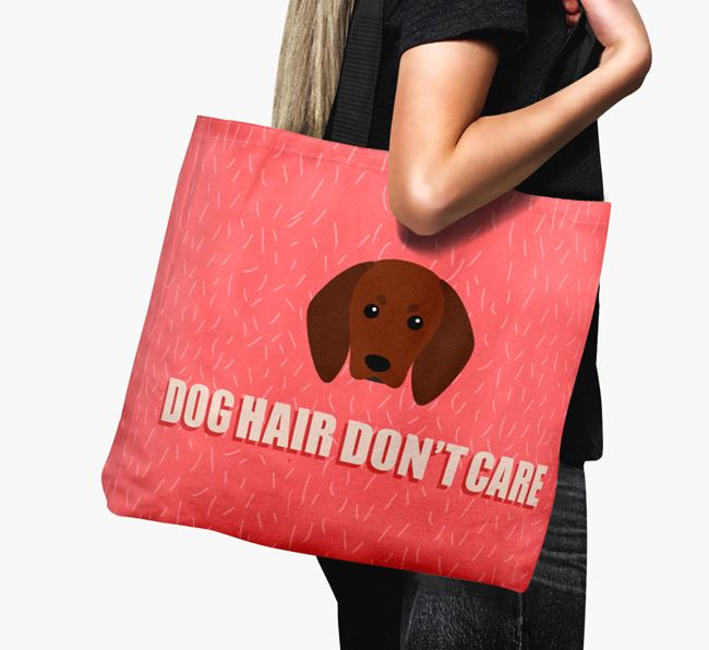 'Dog Hair Don't Care' Canvas Bag with Redbone Coonhound Icon