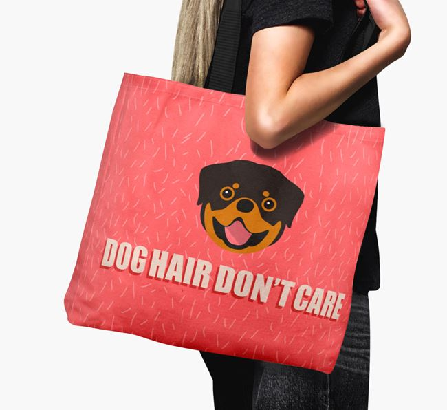 'Dog Hair Don't Care' Canvas Bag with Rottweiler Icon