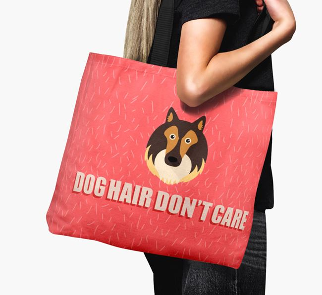 'Dog Hair Don't Care' Canvas Bag with Rough Collie Icon
