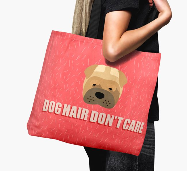 'Dog Hair Don't Care' Canvas Bag with Shar Pei Icon