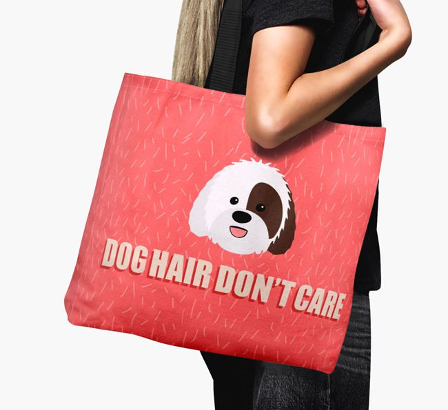 'Dog Hair Don't Care' Canvas Bag with Sheepadoodle Icon