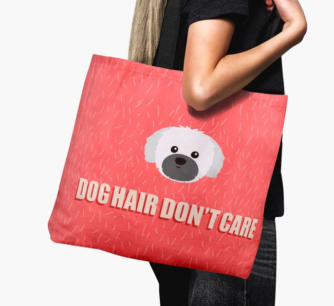 'Dog Hair Don't Care' Canvas Bag with Shih Tzu Icon