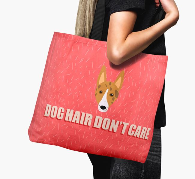 'Dog Hair Don't Care' Canvas Bag with Smooth Collie Icon