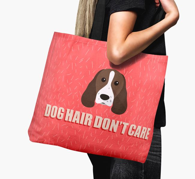 'Dog Hair Don't Care' Canvas Bag with Springer Spaniel Icon