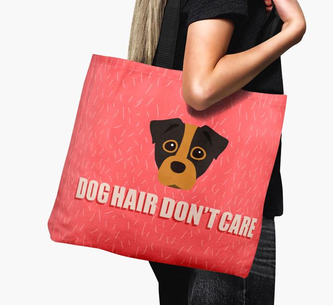 'Dog Hair Don't Care' Canvas Bag with Staffy Jack Icon