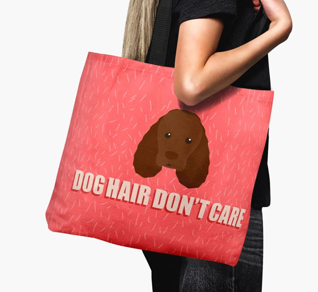 'Dog Hair Don't Care' Canvas Bag with Sussex Spaniel Icon