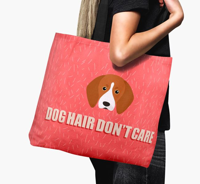 'Dog Hair Don't Care' Canvas Bag with Treeing Walker Coonhound Icon