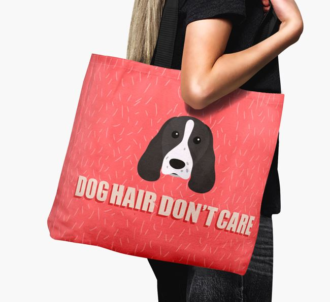'Dog Hair Don't Care' Canvas Bag with Welsh Springer Spaniel Icon