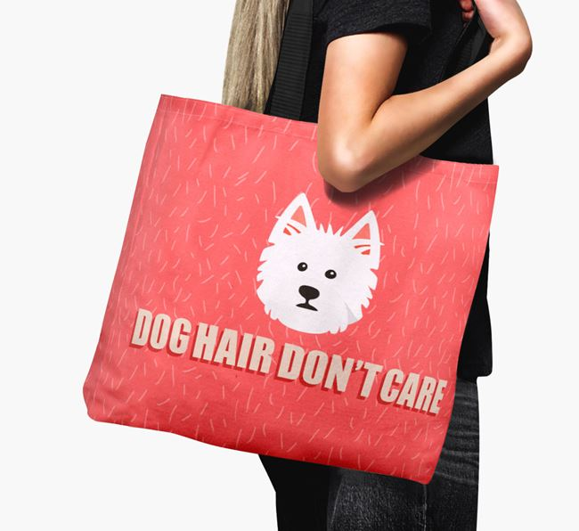 'Dog Hair Don't Care' Canvas Bag with West Highland White Terrier Icon