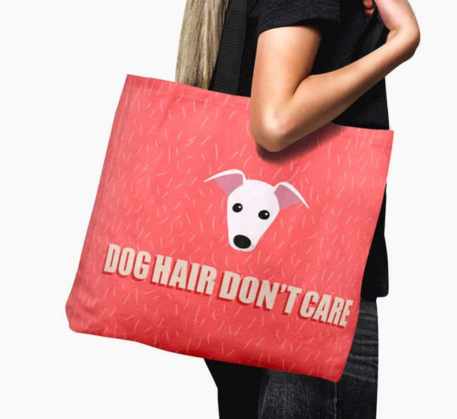'Dog Hair Don't Care' Canvas Bag with Whippet Icon