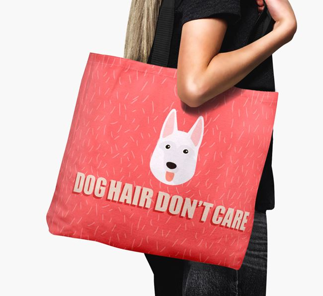 'Dog Hair Don't Care' Canvas Bag with White Swiss Shepherd Dog Icon