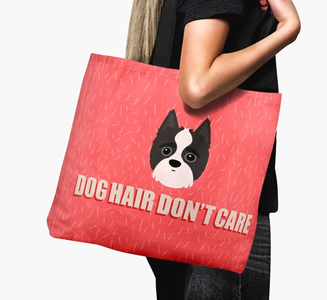 'Dog Hair Don't Care' Canvas Bag with Yorkipoo Icon